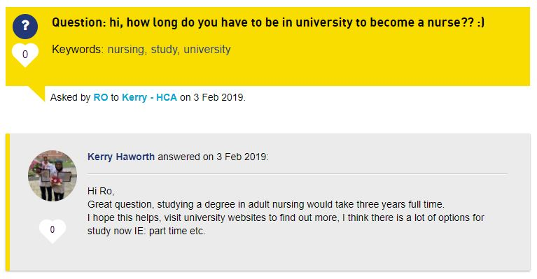 A screenshot of a question and answer on the Ask section of the website