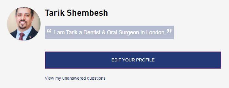 A screenshot of Tarik Shembesh's profile, showing the Edit Your Profile button