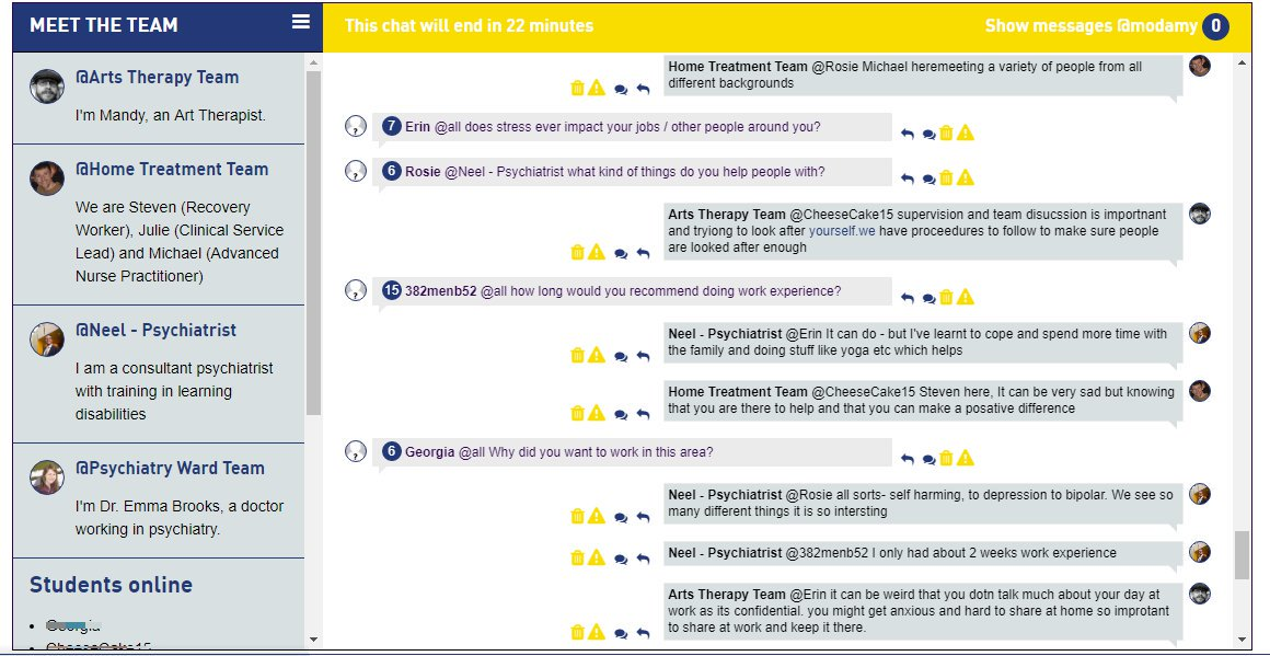 A screenshot of the Live Chat between students and healthcare workers